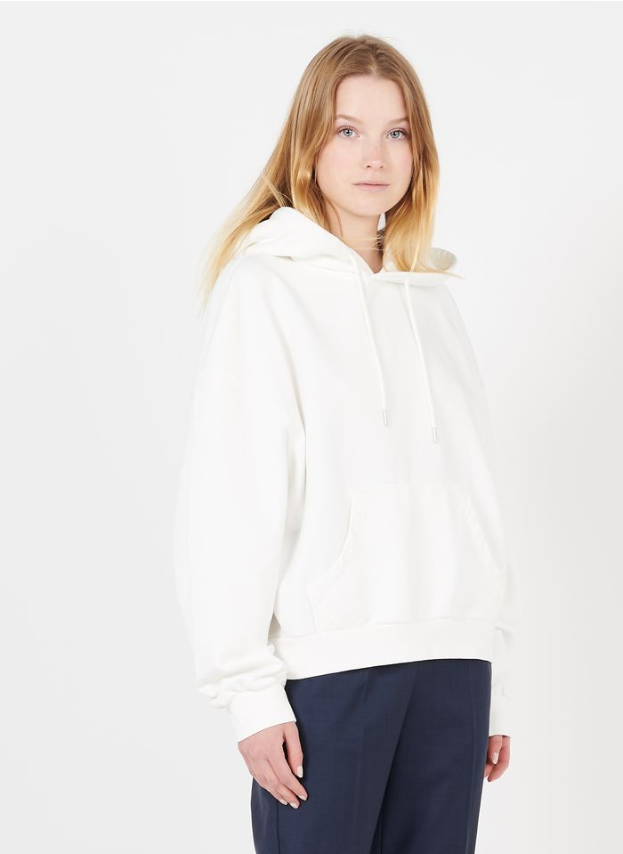 ACQUAVERDE Oversize-Kapuzensweatshirt aus Baumwolle mit Rundhalsausschnitt in Weiß