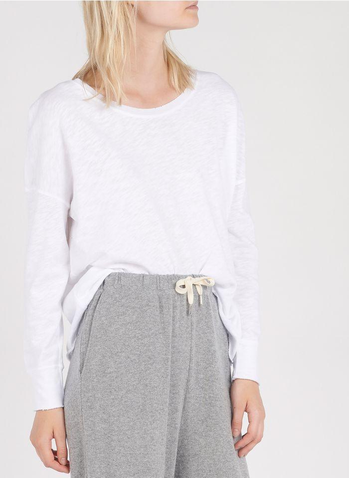 AMERICAN VINTAGE Dünnes Sweatshirt aus Baumwolle mit U-Boot-Ausschnitt in Weiß