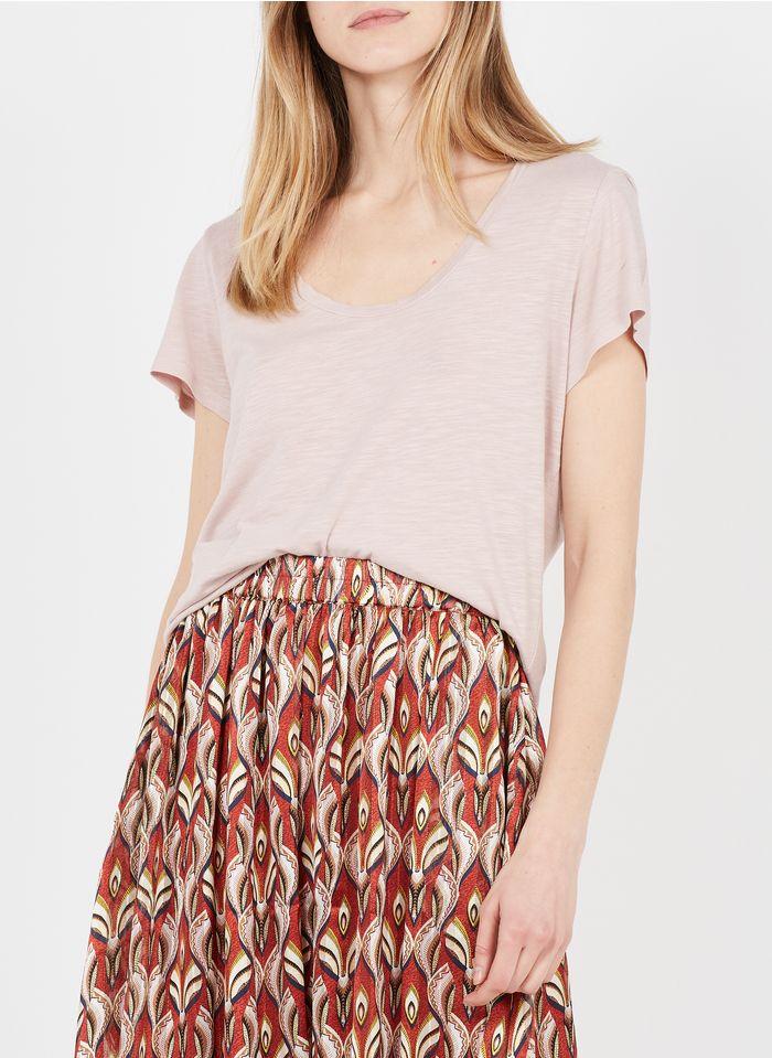 AMERICAN VINTAGE Rundhals-T-Shirt aus Baumwoll-Mix in Rosa