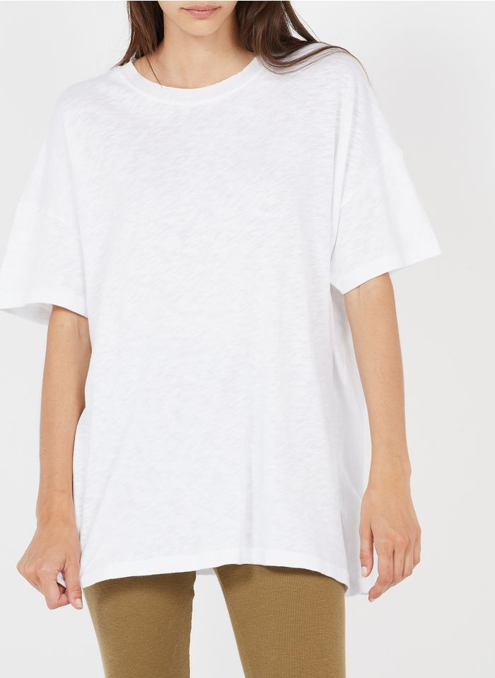 AMERICAN VINTAGE Weites Rundhals-T-Shirt aus Baumwolle in Weiß