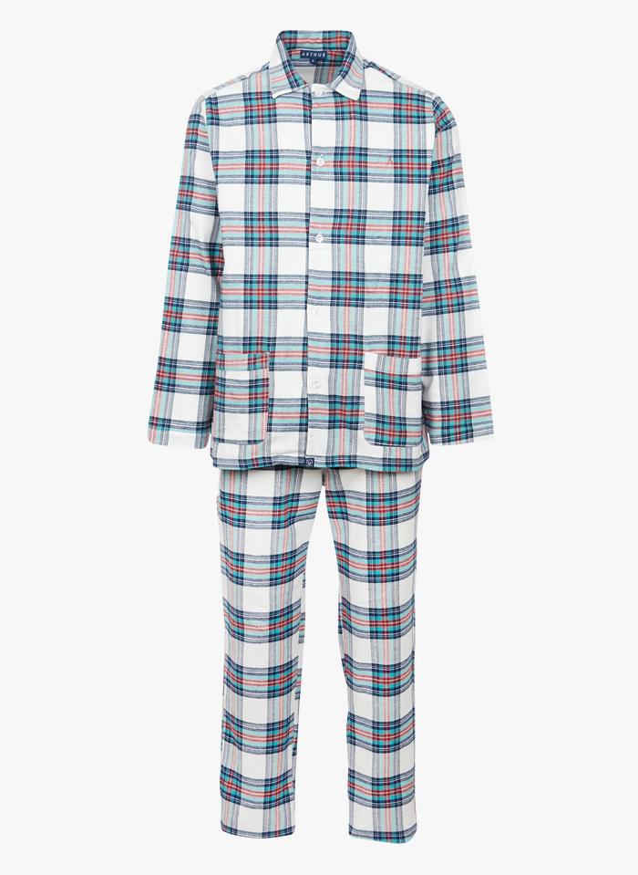 ARTHUR Karierter Pyjama aus Baumwollflanell in Weiß