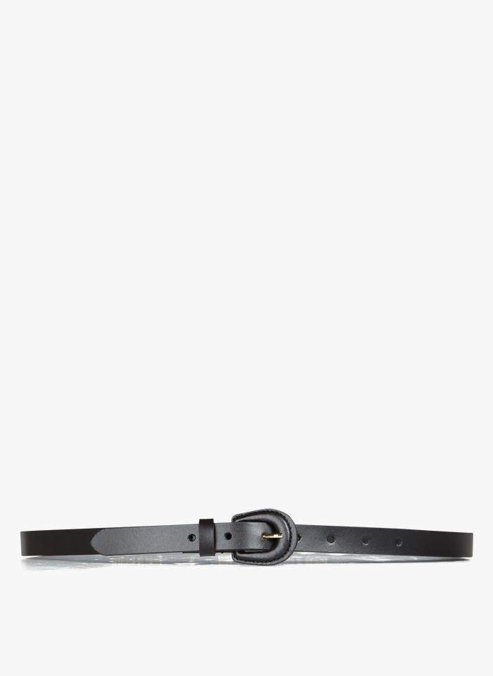 AU PRINTEMPS PARIS Ledergürtel mit Schnalle in Schwarz