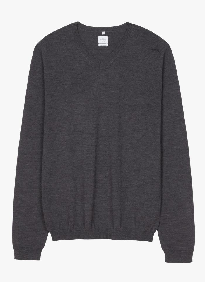 AU PRINTEMPS PARIS Wollpullover mit V-Ausschnitt, Regular Fit in Grau