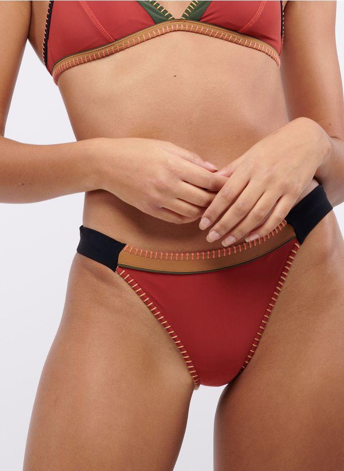 BANANA MOON Colorblock-Bikinihose mit Stickerei in Rosa