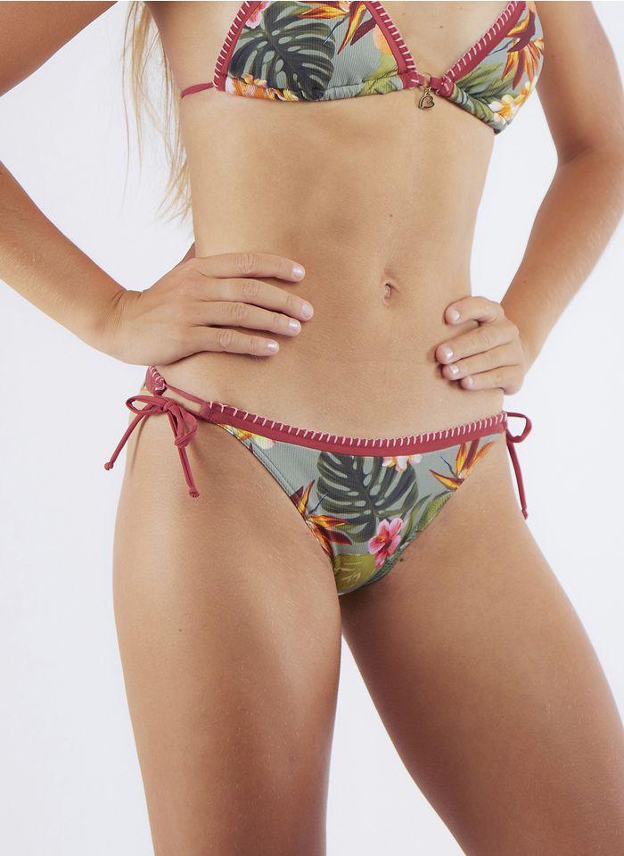 BANANA MOON Geblümte Bikinihose in Khaki