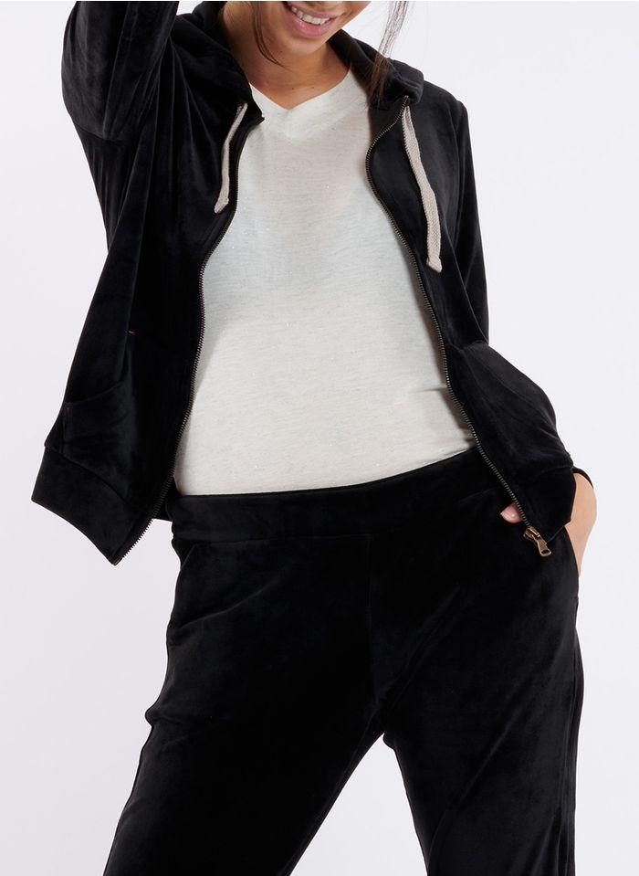BANANA MOON Kapuzensweatshirt aus Samt mit Rundhalsausschnitt, Reißverschluss und besticktem Rückenteil in Schwarz