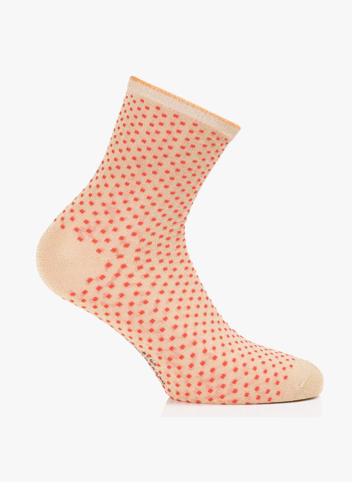 BECKSONDERGAARD Socken mit Lurex-Tupfen in Rot
