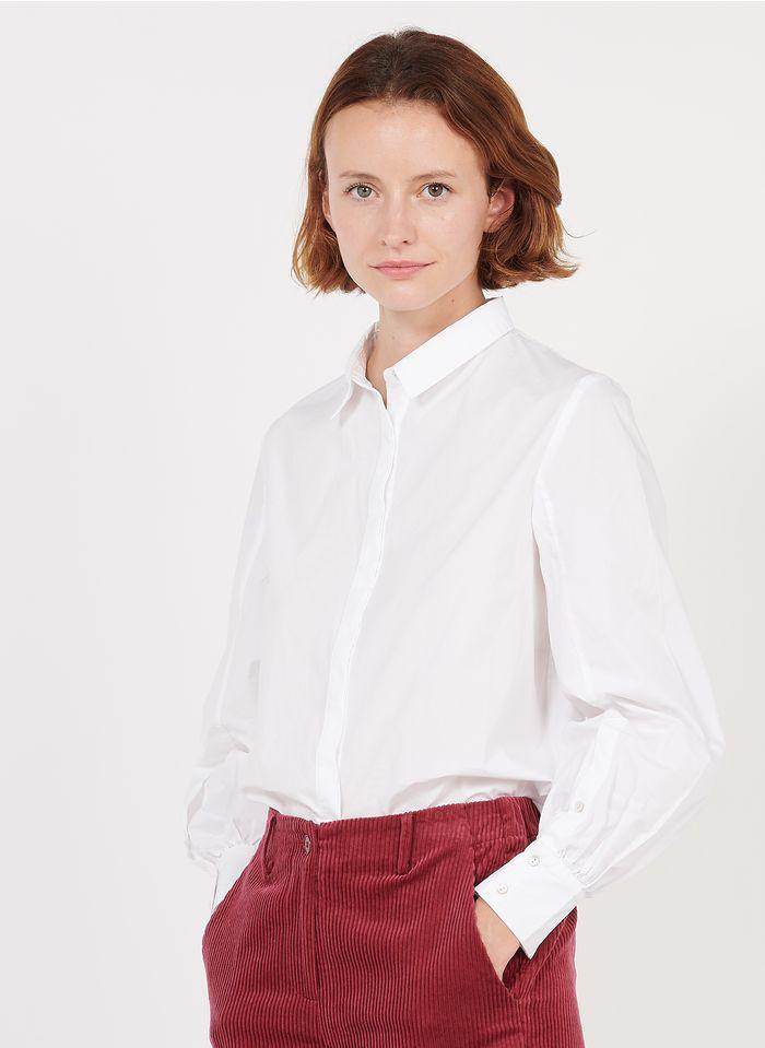 BELLA JONES Bluse aus Baumwoll-Popeline mit klassischem Kragen in Weiß