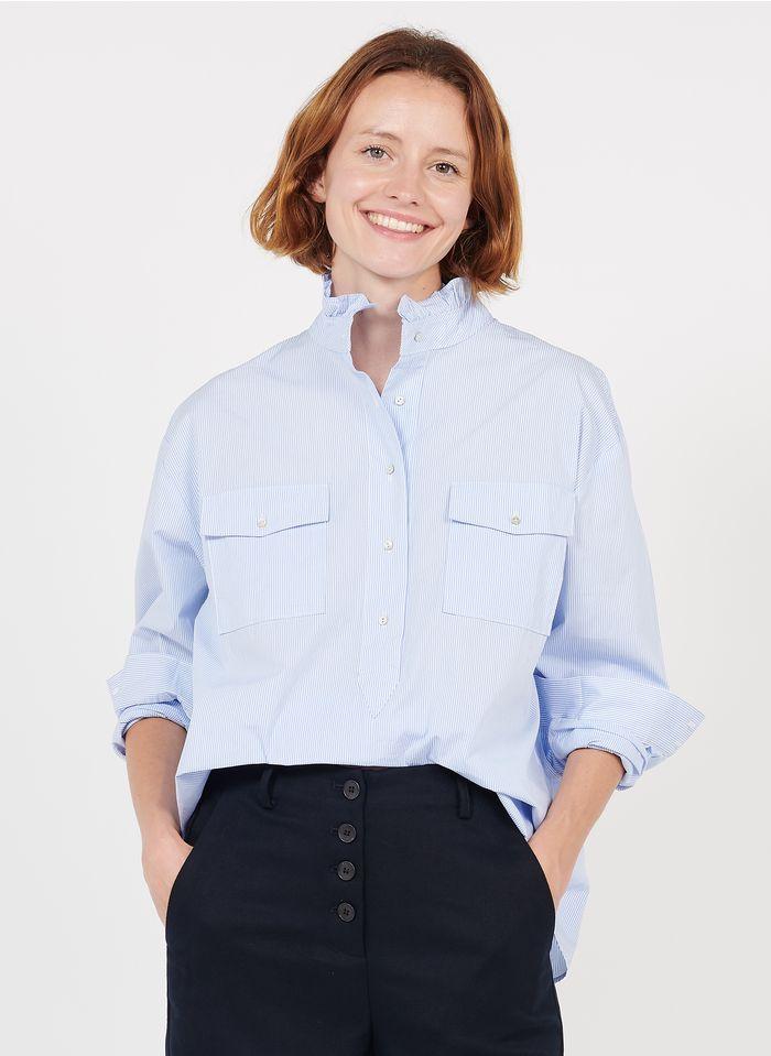 BELLA JONES Gestreiftes Baumwoll-Top mit viktorianischem Kragen in Blau