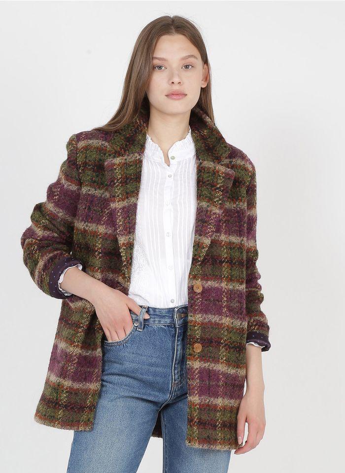 BELLA JONES Karierter Wollmix-Mantel mit Reverskragen in Mehrfarbig