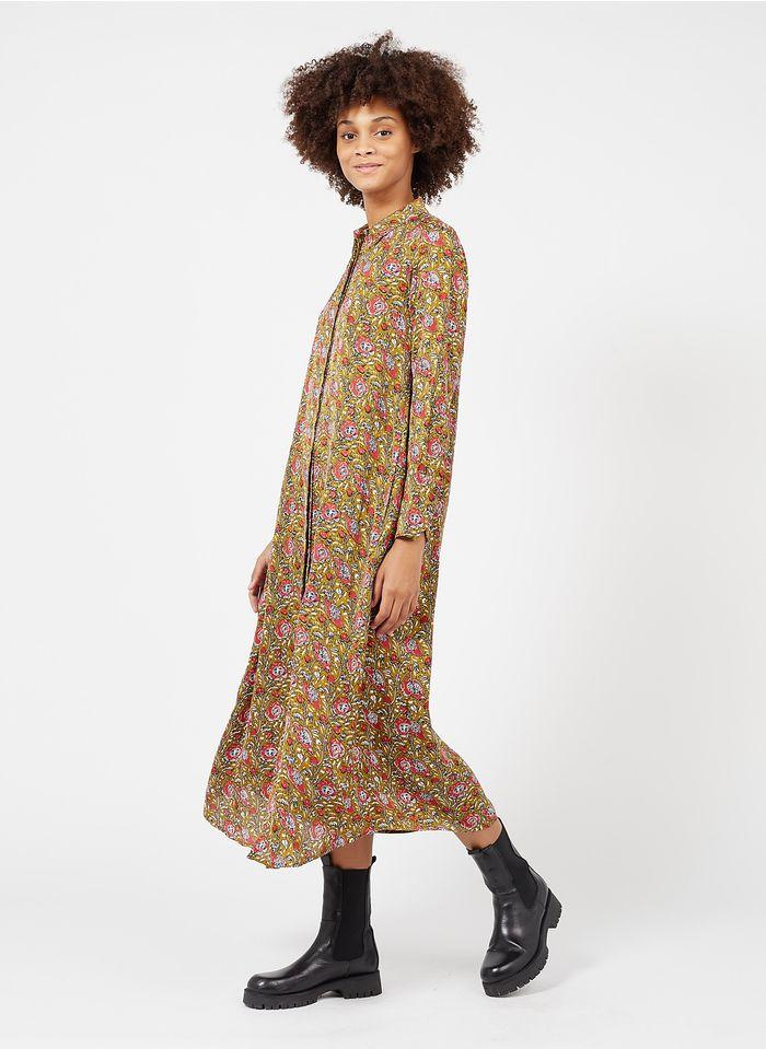BELLA JONES Langes Hemdkleid mit klassischem Kragen und Print