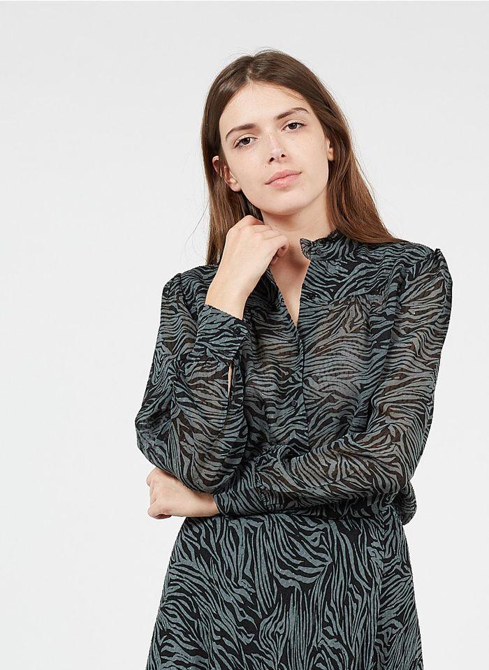 BERENICE Bluse mit viktorianischem Kragen und Zebra-Print in Grau