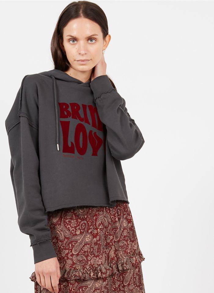 BERENICE Kurzes Baumwollsweatshirt mit Kapuze in Grau