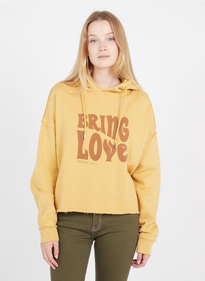 BERENICE Kurzes Baumwollsweatshirt mit Kapuze in Gelb