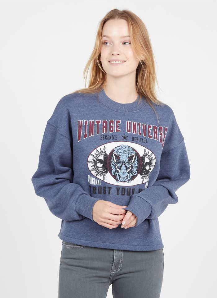 BERENICE Rundhals-Sweatshirt mit Siebdruck in Blau