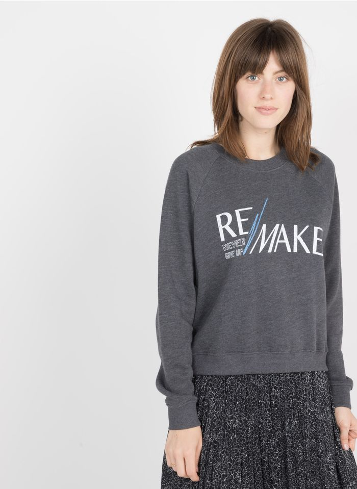 BERENICE Rundhals-Sweatshirt mit Siebdruck in Schwarz