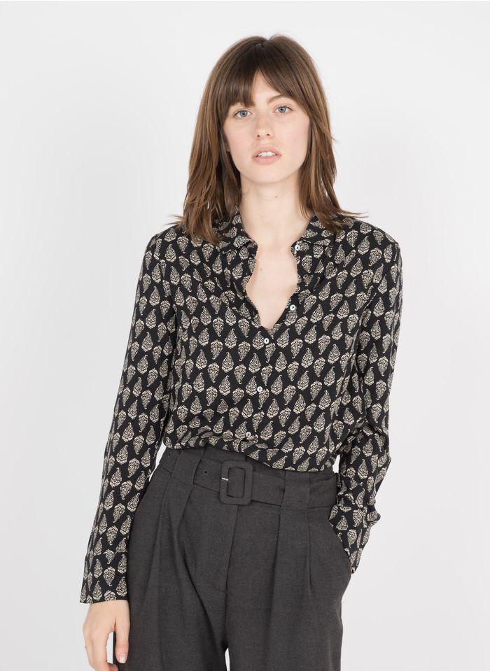 BEST MOUNTAIN Bedruckte Bluse mit klassischem Kragen in Schwarz