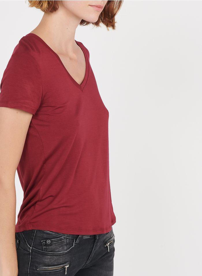 BEST MOUNTAIN Fließendes T-Shirt mit V-Ausschnitt in Rot
