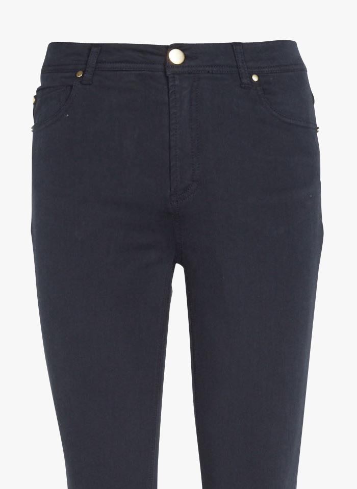BEST MOUNTAIN Slim-Fit-Taillenhose aus Baumwoll-Mix in Blau