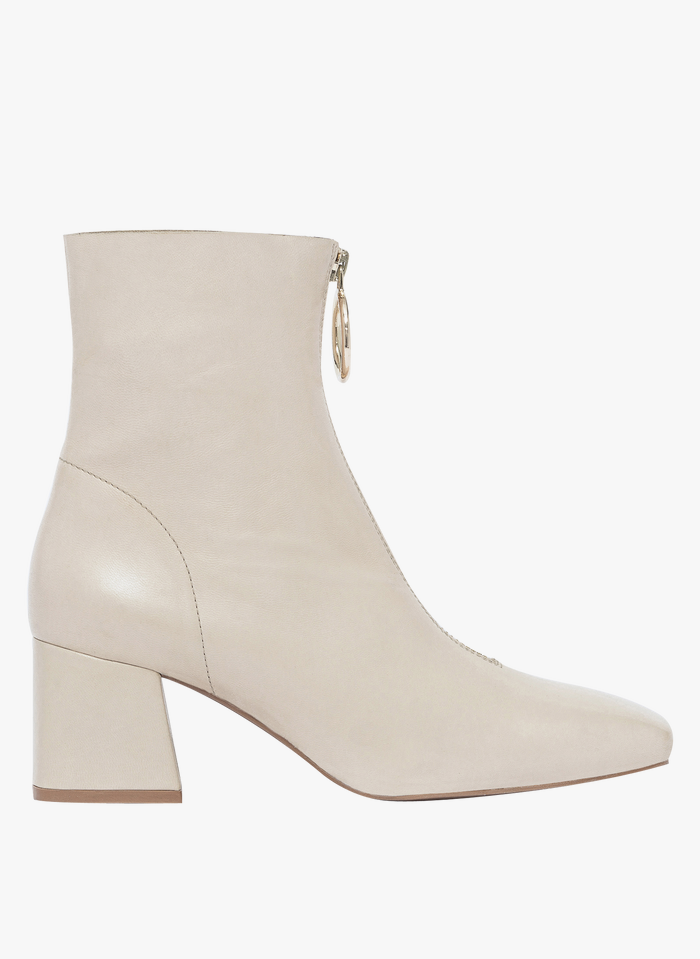 BOCAGE Glattleder-Stiefel mit Reißverschluss vorne in Beige