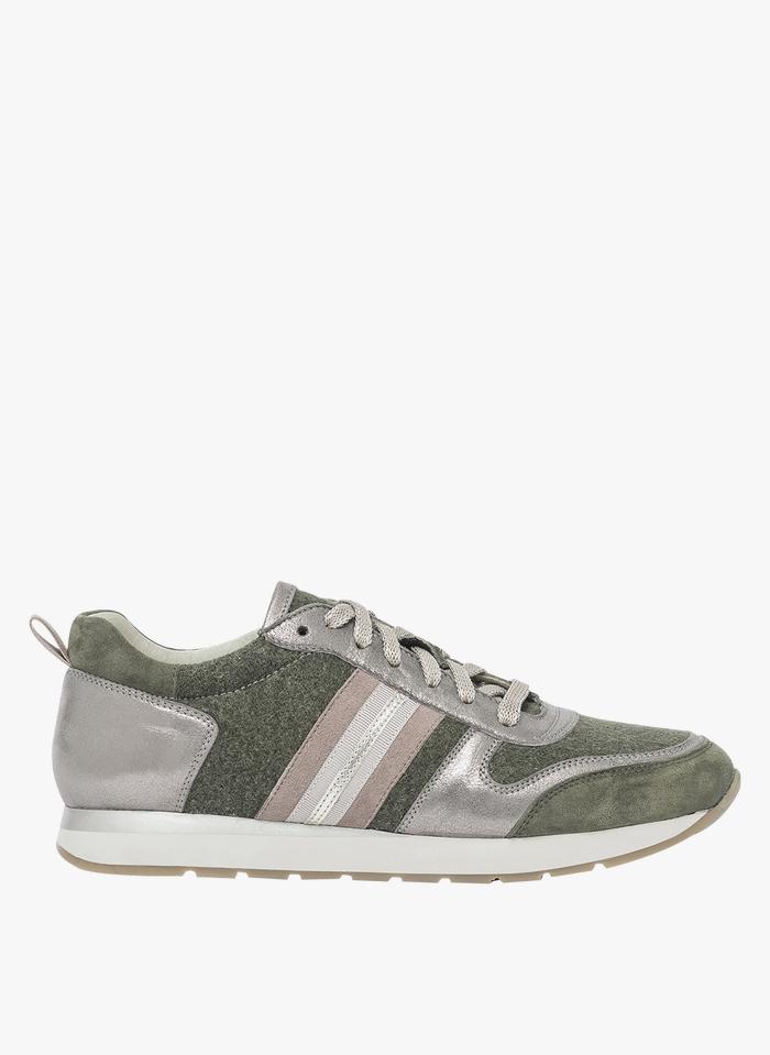 BOCAGE Niedrige Sneaker aus Canvas und Leder in Grün