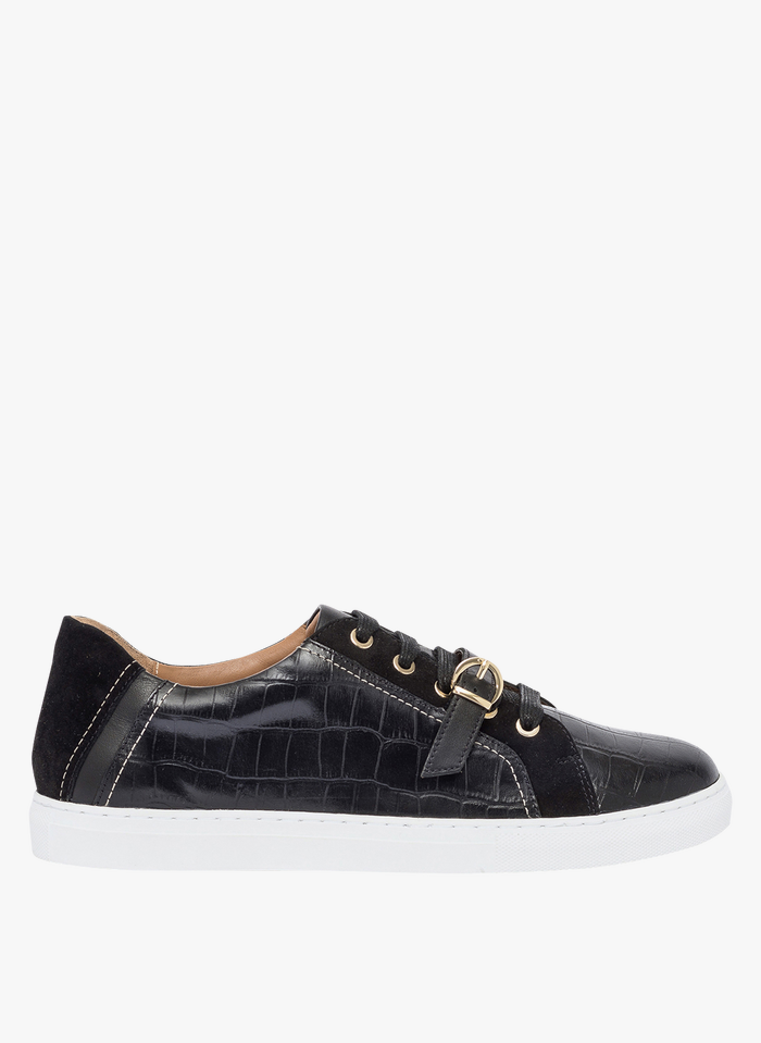 BOCAGE Sneaker aus geprägtem Leder in Kroko-Optik in Schwarz