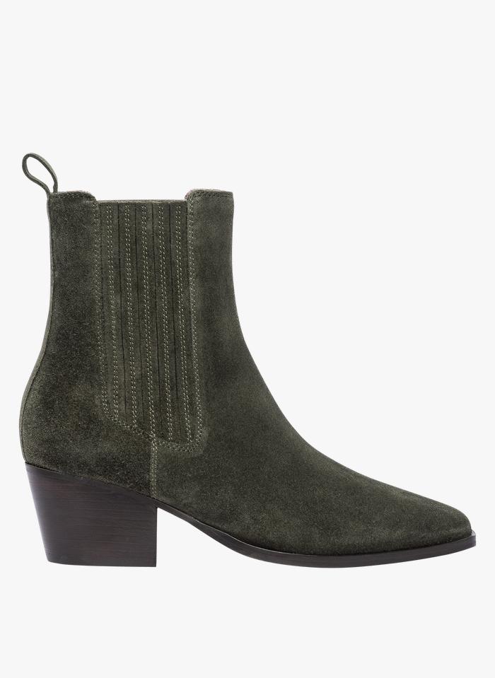 BOCAGE Veloursleder-Stiefel mit verdeckten Elastikeinsätzen in Grün