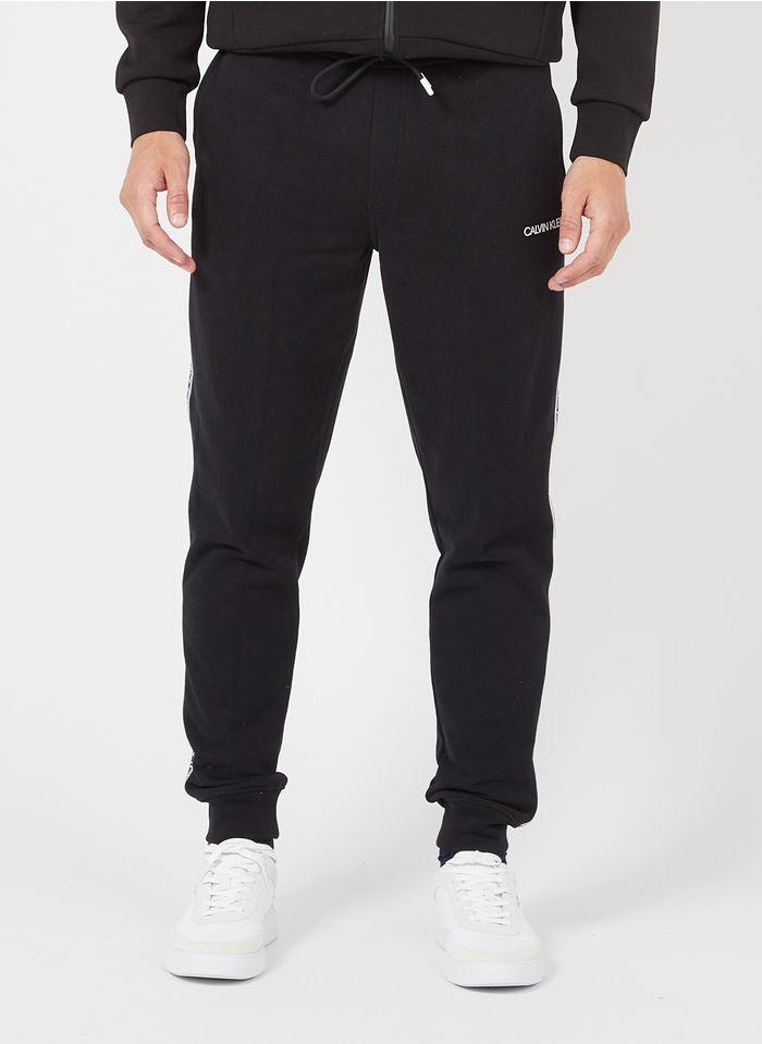 CALVIN KLEIN Jogginghose aus Bio-Baumwolle mit Logostreifen in Schwarz