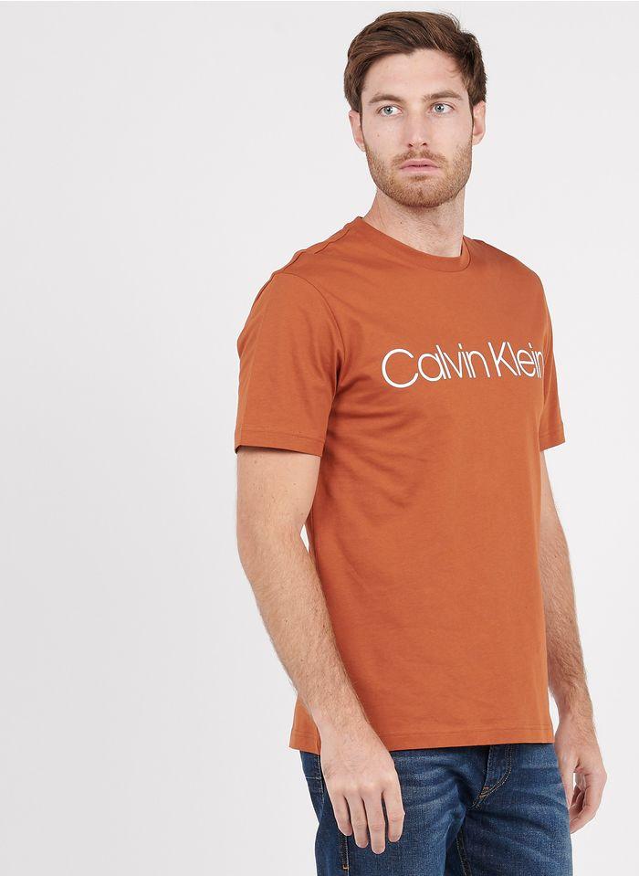 CALVIN KLEIN Rundhals-T-Shirt aus Baumwolle mit Siebdruck, Regular Fit in Orange