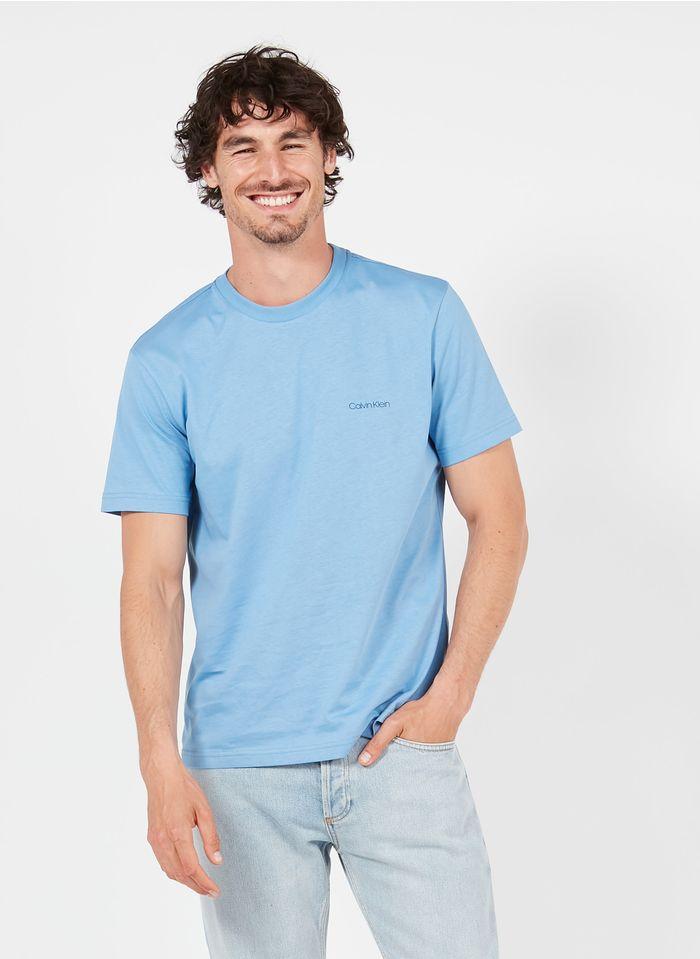 CALVIN KLEIN Rundhals-T-Shirt aus Bio-Baumwolle mit Siebdruck, Regular Fit in Blau