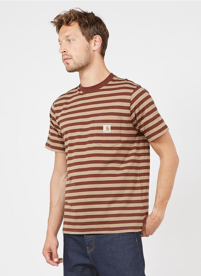 CARHARTT WIP Gestreiftes Rundhals-T-Shirt aus Baumwolle, Regular Fit in Braun