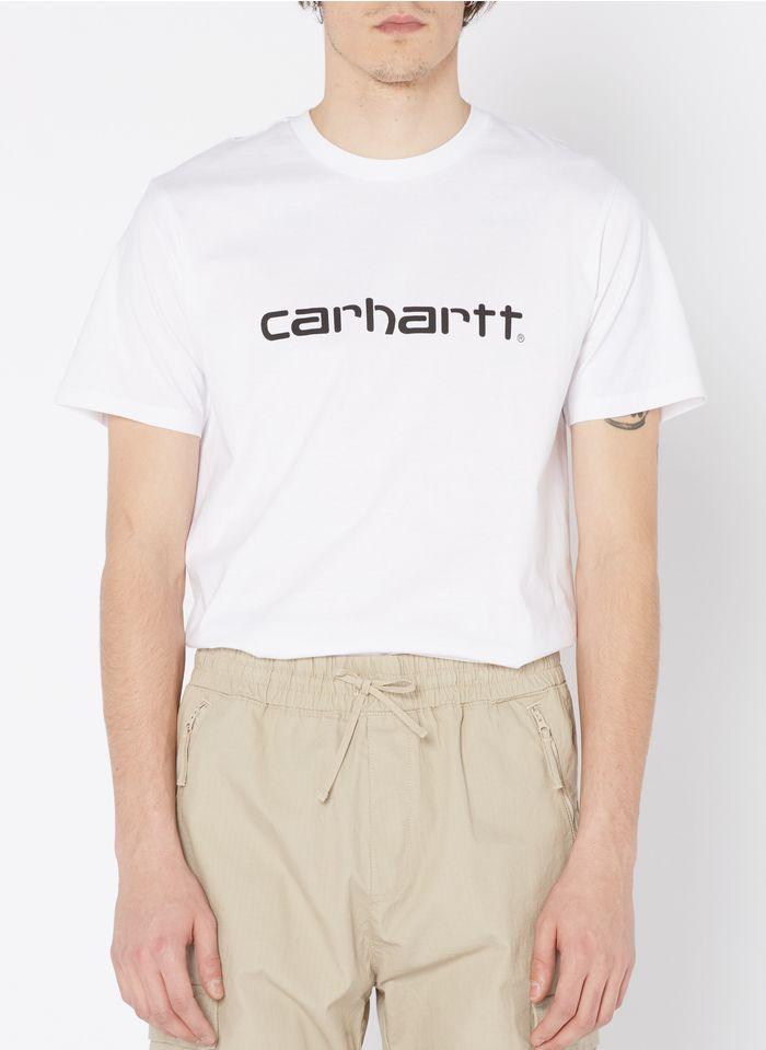 CARHARTT WIP Rundhals-T-Shirt aus Baumwolle mit Siebdruck-Logo, Regular Fit in Weiß