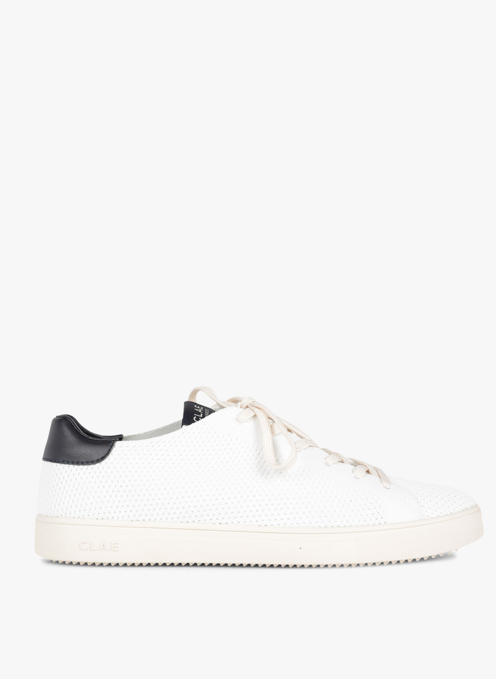 CLAE Niedrige Sneaker aus Canvas und Leder in Knit-Optik in Weiß
