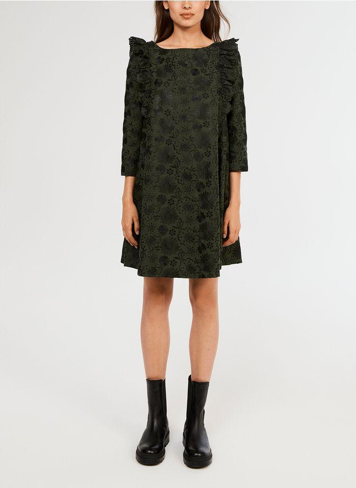 CLAUDIE PIERLOT Besticktes Kurzkleid aus Baumwoll-Mix mit U-Boot-Ausschnitt in Grün