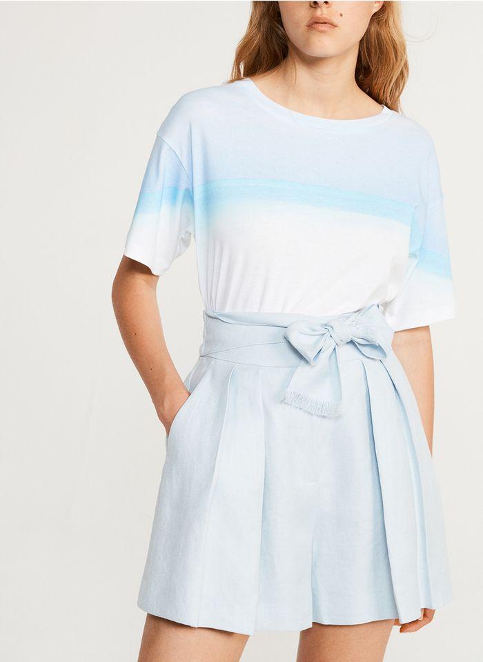 CLAUDIE PIERLOT Rundhals-T-Shirt aus Baumwolle mit Batikprint in Mehrfarbig