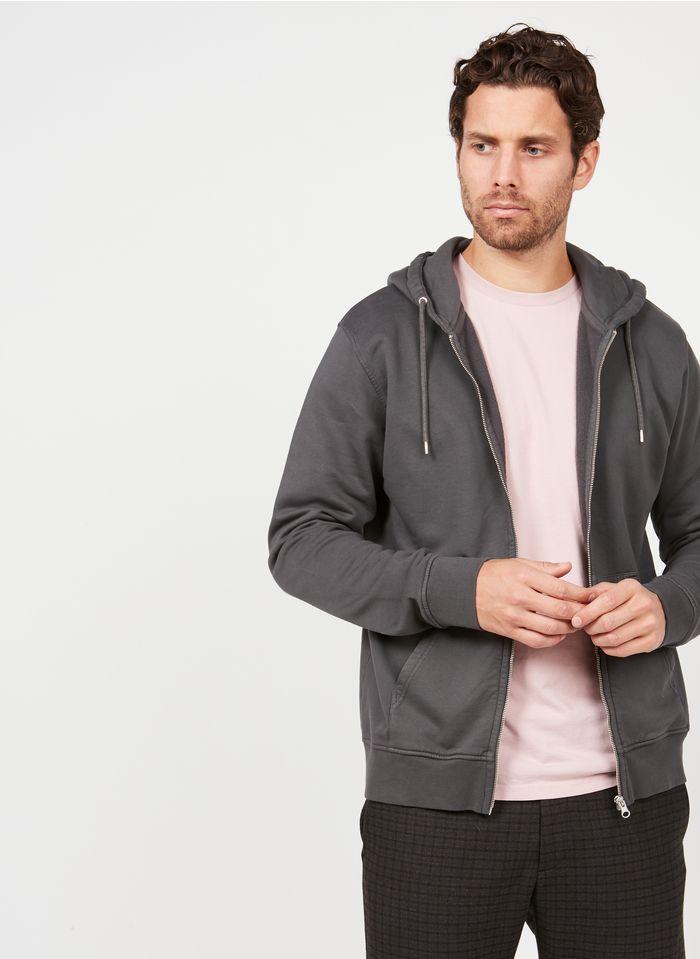 COLORFUL STANDARD Kapuzensweatshirt aus Bio-Baumwolle mit Reißverschluss, Slim Fit in Grau