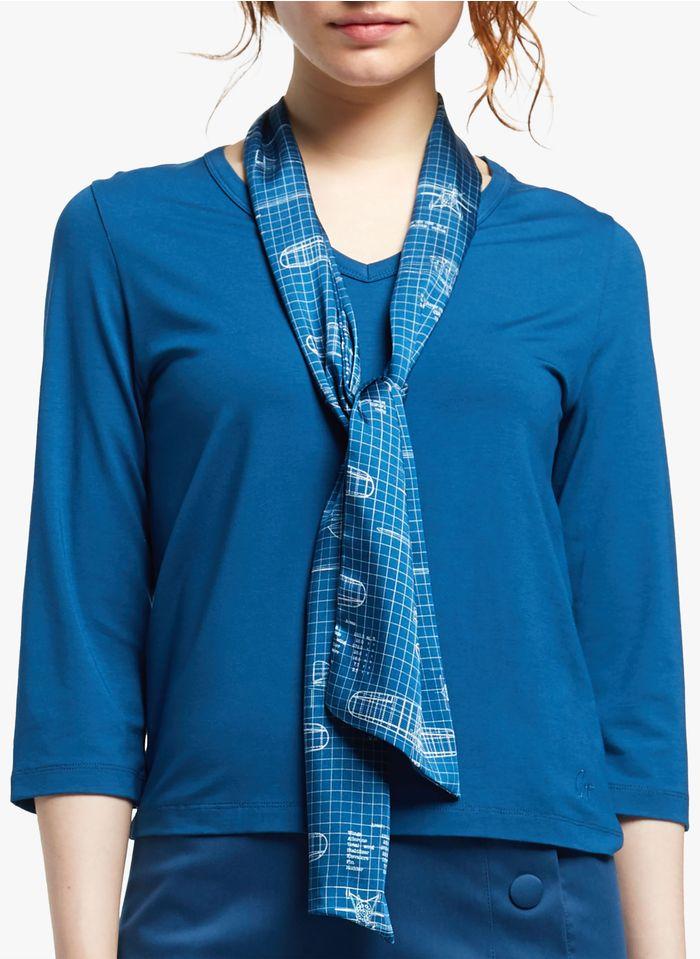 COP.COPINE T-Shirt mit V-Ausschnitt und Tuch in Blau