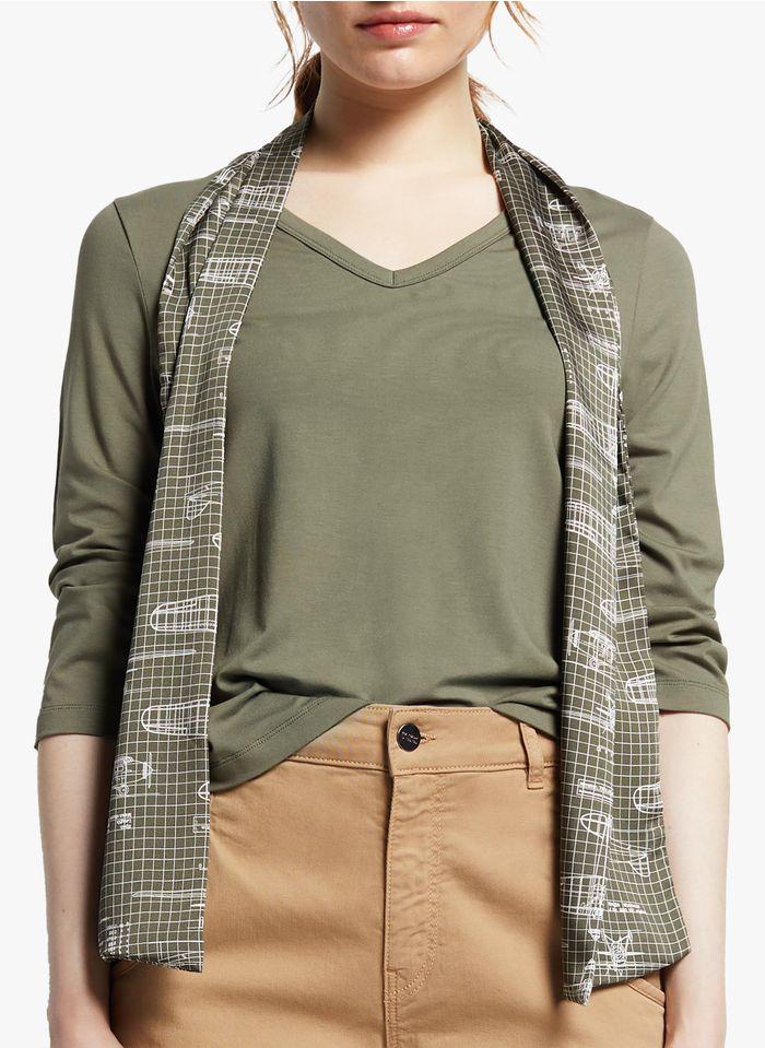 COP.COPINE T-Shirt mit V-Ausschnitt und Tuch in Khaki