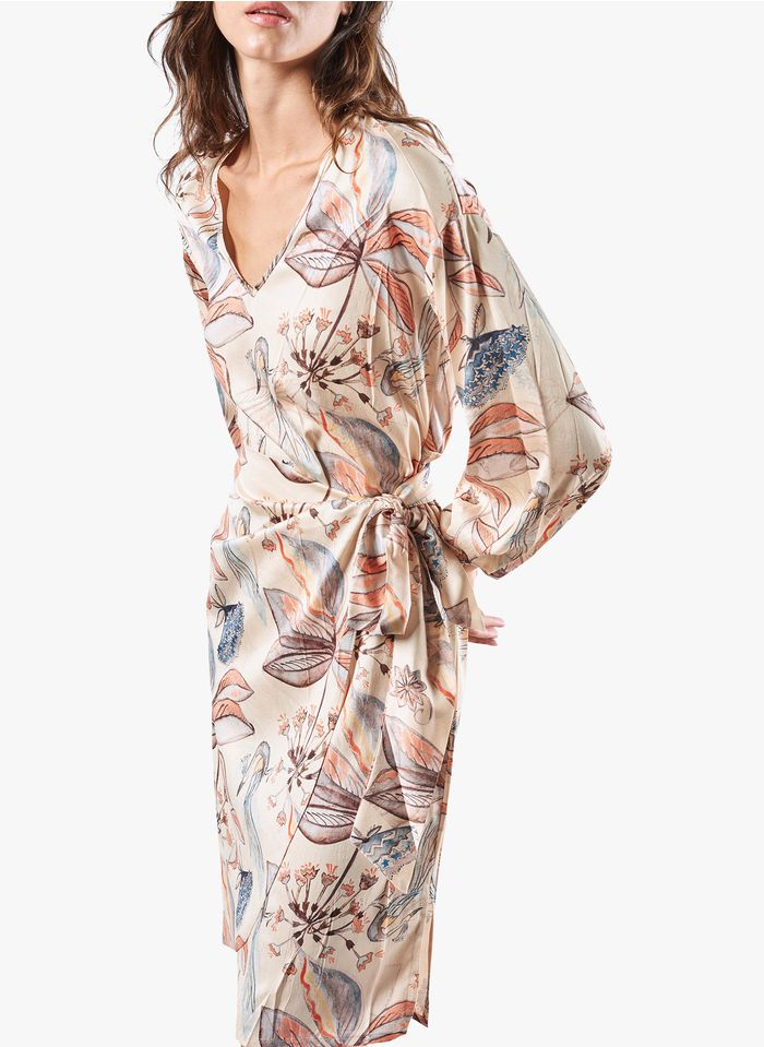 COTELAC Geblümtes Kleid mit V-Ausschnitt in Weiß