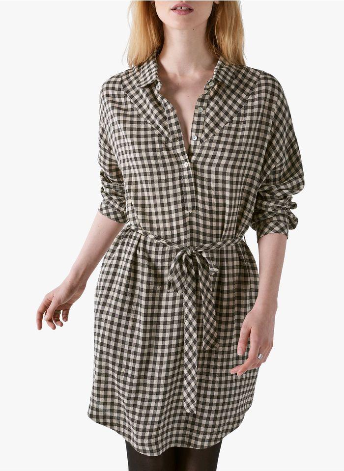 COTELAC Kariertes Hemdblusenkleid aus Schurwolle-Mix mit klassischem Kragen in Beige