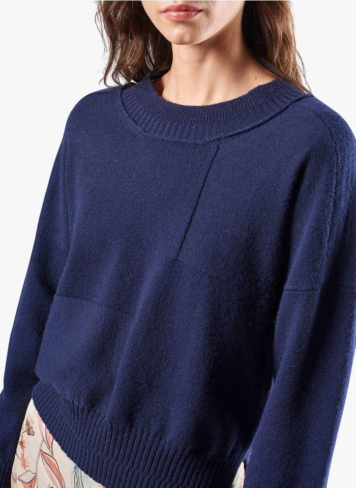 COTELAC Wollmix-Pullover mit Rundhalsausschnitt in Blau