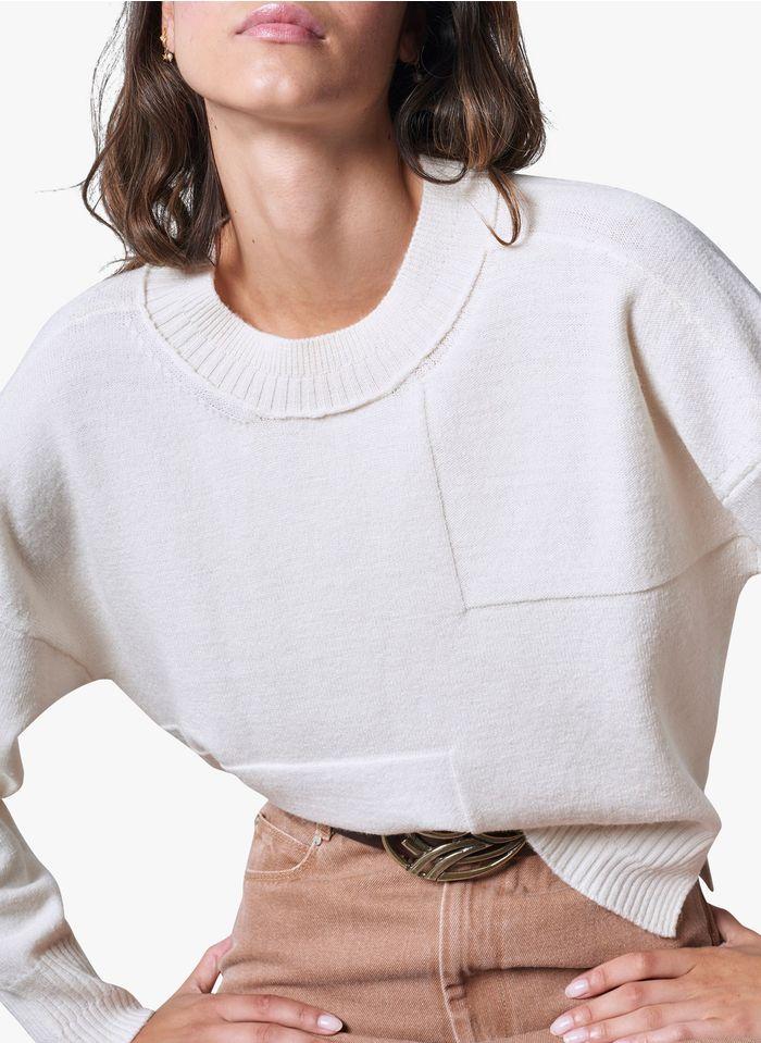 COTELAC Wollmix-Pullover mit Rundhalsausschnitt in Weiß