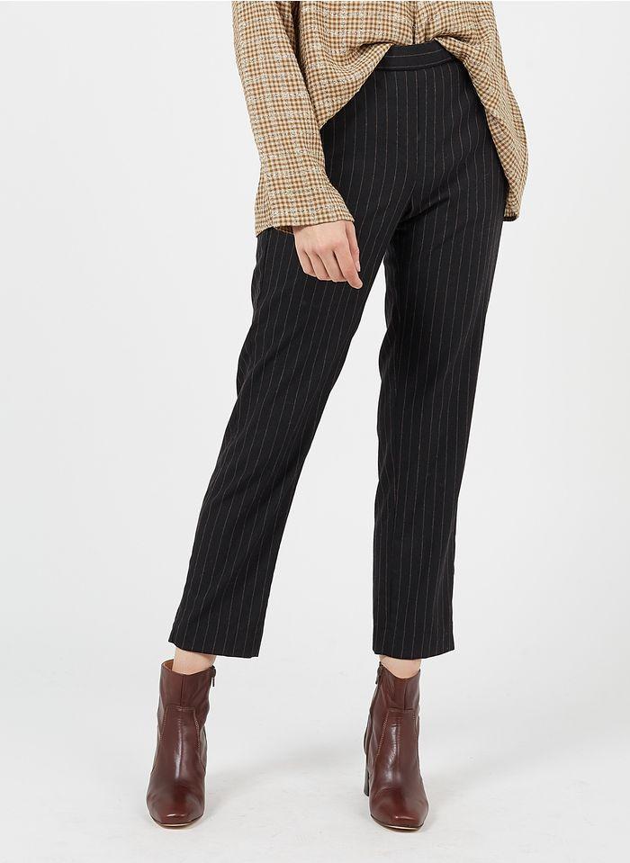 DIEGA Gerade geschnittene Taillenhose aus Wollmix mit Streifen in Braun