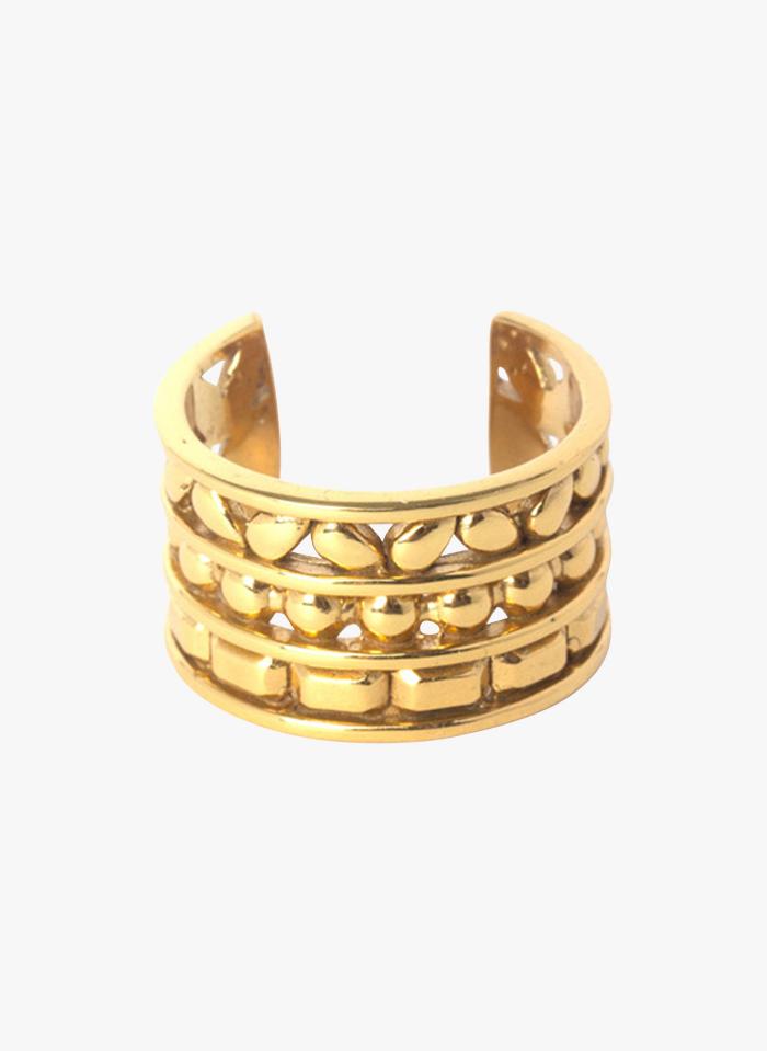EMMA & CHLOE Dicker dreireihiger Ring in Golden