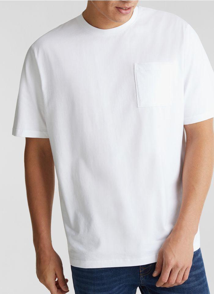 ESPRIT Baumwoll-T-Shirt mit weitem Ausschnitt in Weiß