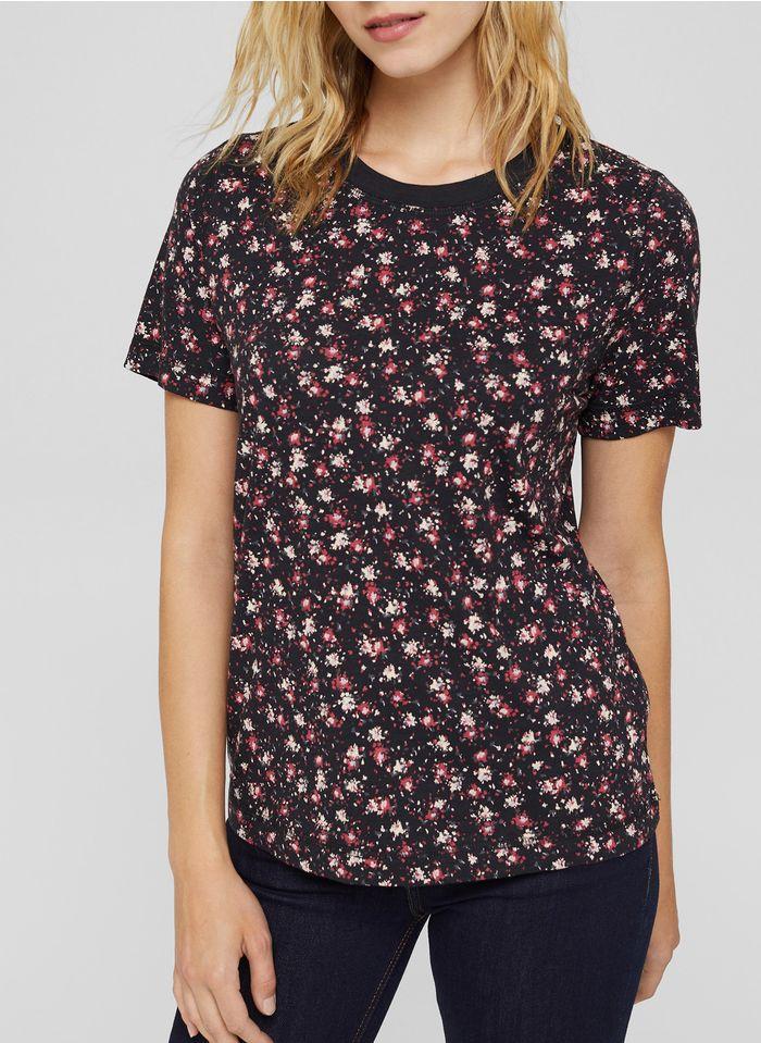 ESPRIT Bedrucktes Rundhals-T-Shirt aus Bio-Baumwoll-Mix in Schwarz