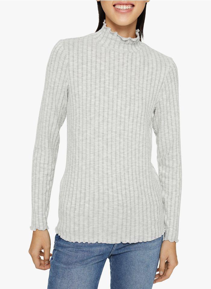 ESPRIT Geripptes T-Shirt mit Stehkragen in Grau