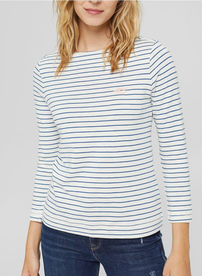 ESPRIT Gestreiftes T-Shirt aus Bio-Baumwolle mit U-Boot-Ausschnitt in Blau