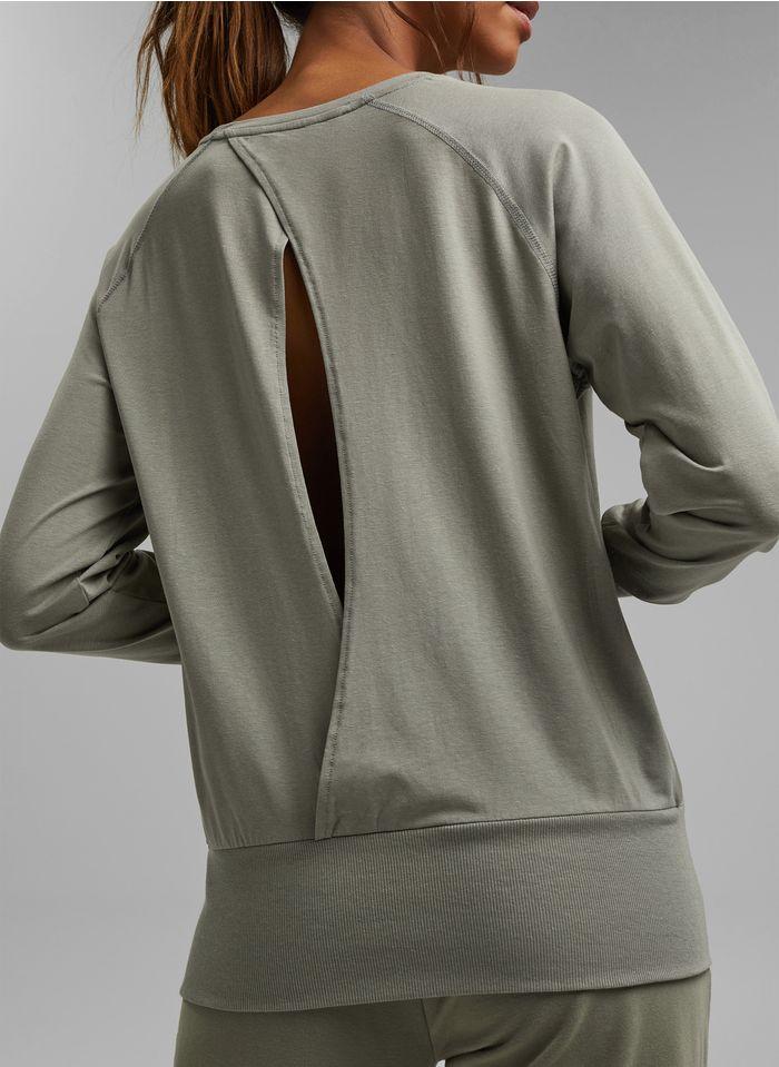 ESPRIT Rundhals-T-Shirt aus Bio-Baumwoll-Mix in Khaki