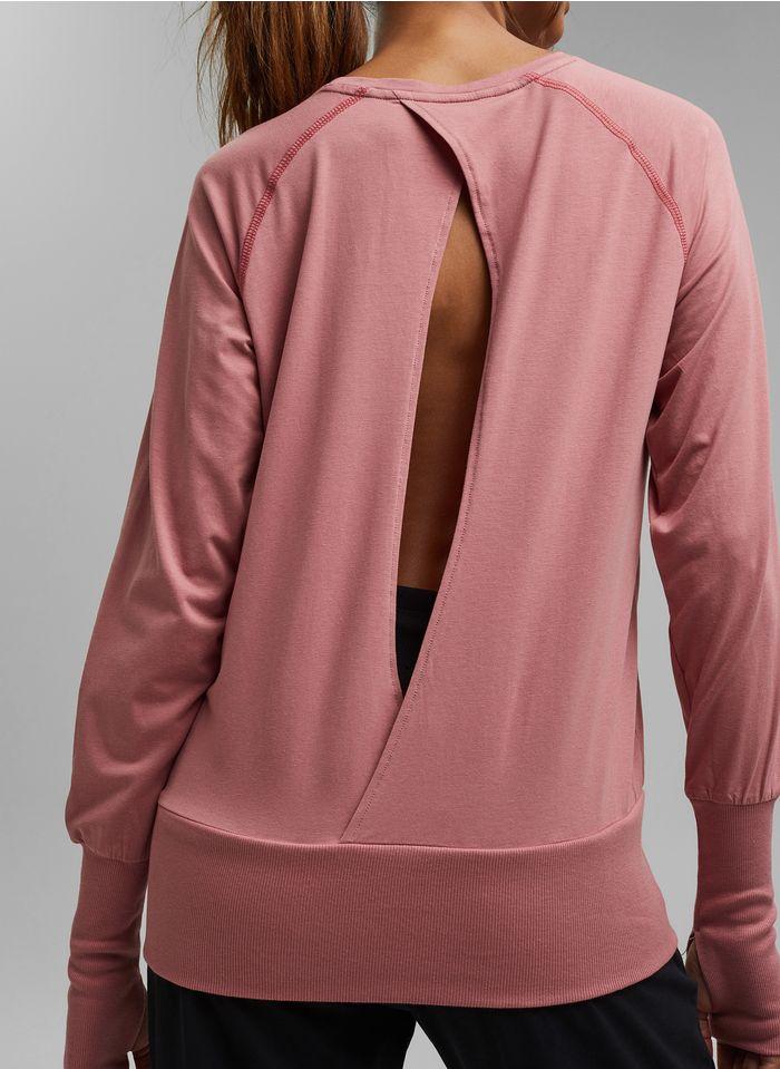 ESPRIT Rundhals-T-Shirt aus Bio-Baumwoll-Mix in Rosa